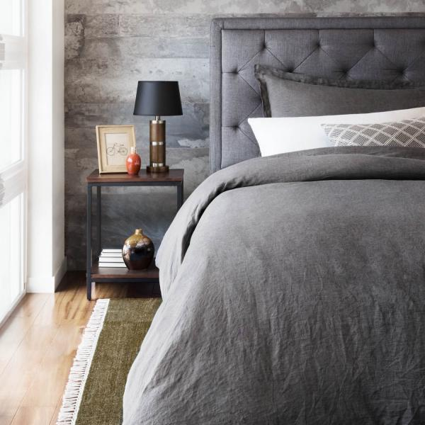 French Linen Duvet Cover Charcoal Lifestyle